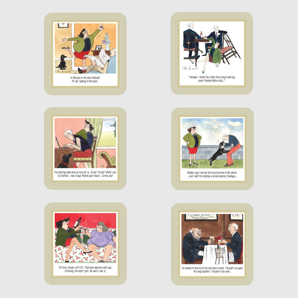 Tottering by Gently set of six deluxe coasters boxed