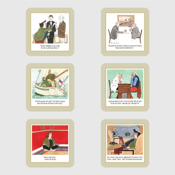 Boxed set of six deluxe Tottering by Gently coasters