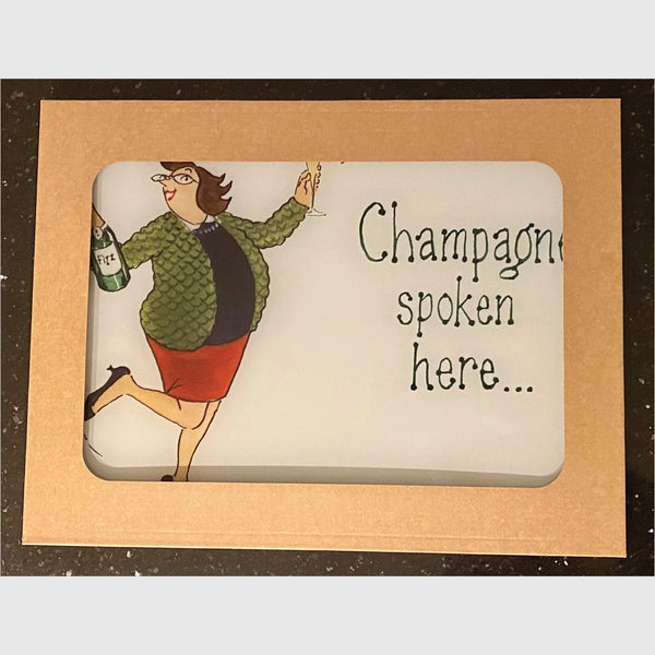 Tottering by Gently glass worktop protector - Champagne spoken here