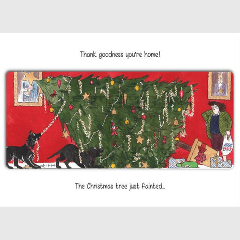 Tottering by Gently Christmas card pack of 5 Christmas Tree fainted