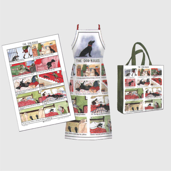 Tottering by Gently collection of Dog Rules textiles tea towel, apron and pvc shopping bag