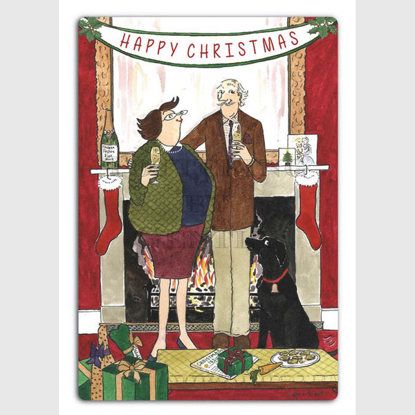 Tottering by Gently Christmas card pack of 5 Happy Christmas Dicky & Daffy