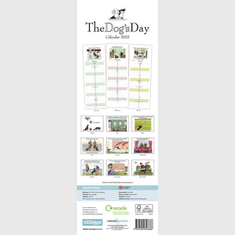 Tottering by Gently The Dogs Day Calendar 2021 slim planner