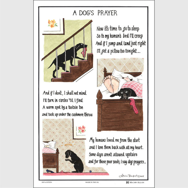 Dogs Prayer cotton Tea towel | Tottering by Gently
