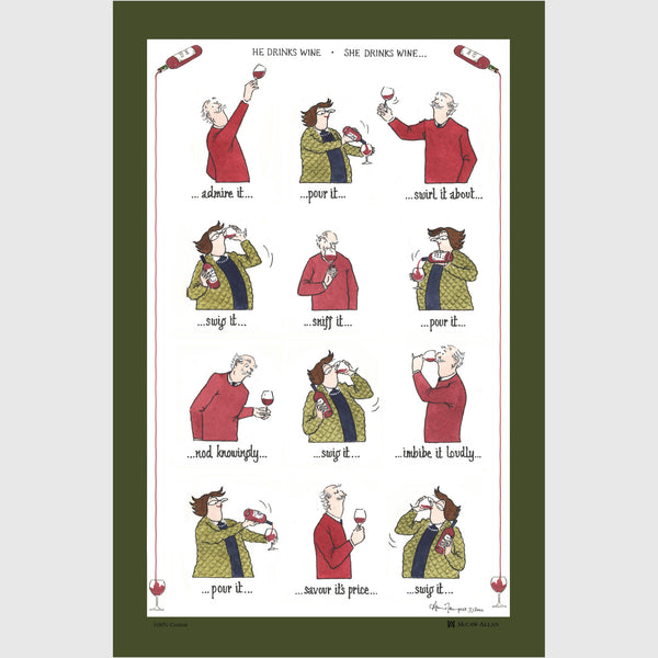 Tottering by Gently Drinking Wine cotton tea towel