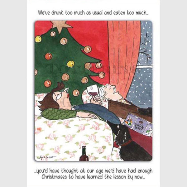 Tottering by Gently Christmas Card Pack of 5 Drunk too much