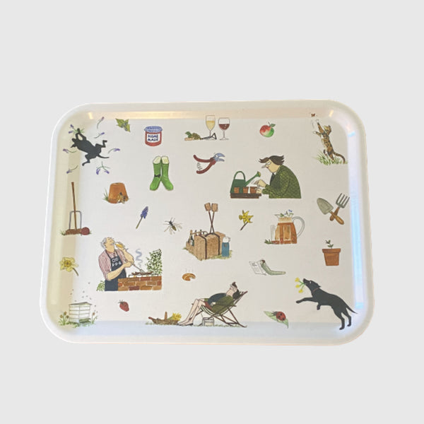 Gardening with Dicky and Daffy Tottering by Gently printed small tray