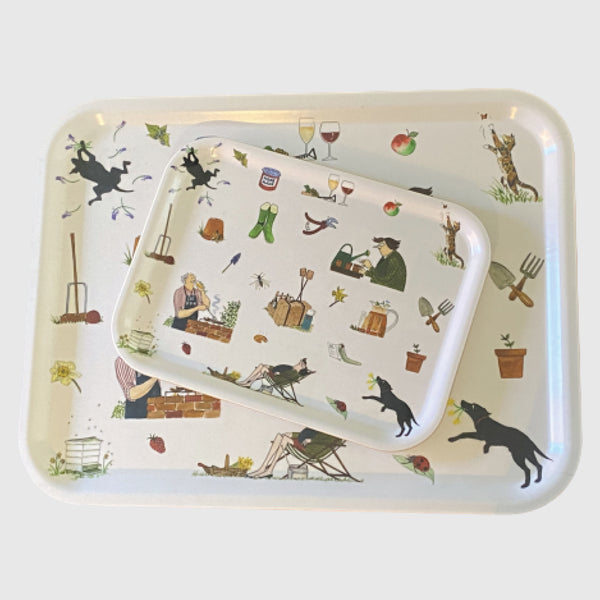 Dicky & Daffy gardening themed large printed Tottering by Gently tray