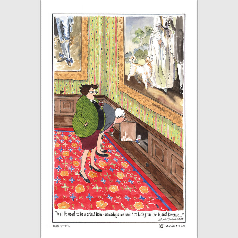 Tottering by Gently Hiding from the Inland Revenue cotton tea towel