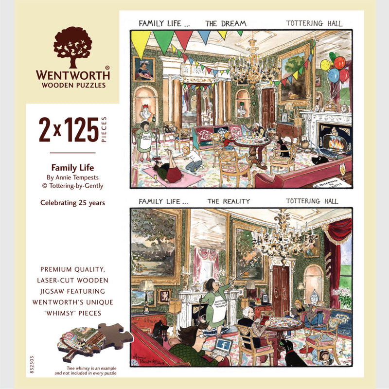 Tottering by Gently Family Life Wentworth Wooden Jigsaw Puzzle 2 x 125 pieces with whimsy pieces