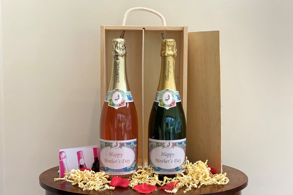 Frisky Partridge champagne duo - pair of white and rose champagne in wooden gift box