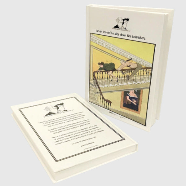 Tottering by Gently hardback note book Never too Old so slide down the bannisters