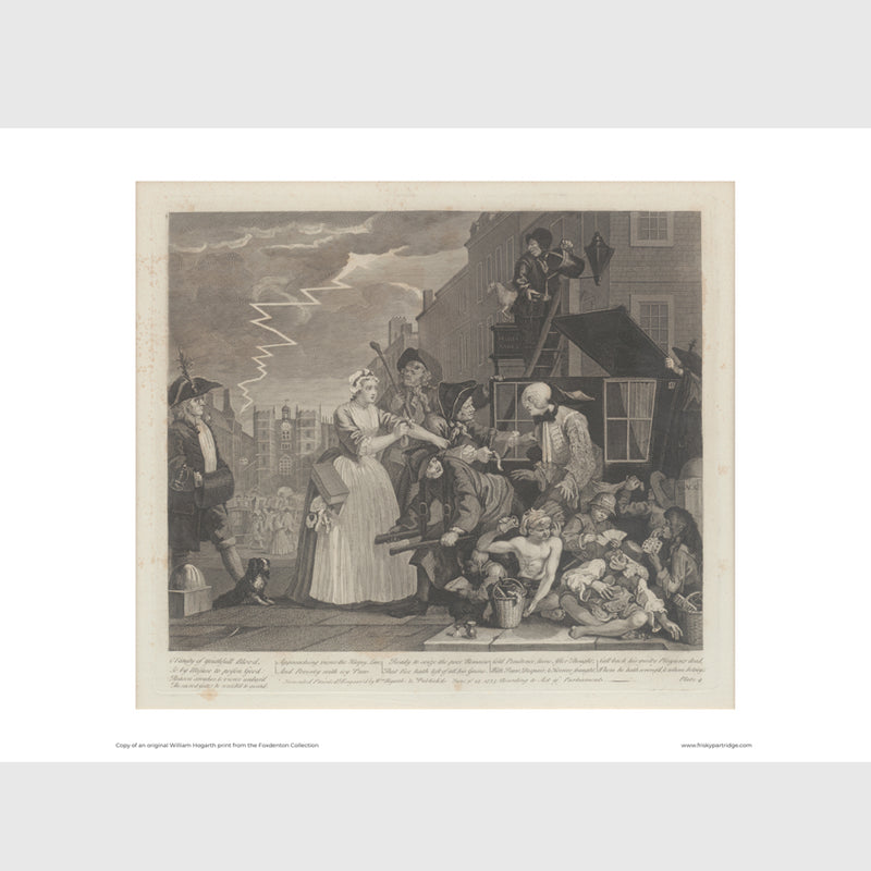 WILLIAM HOGARTH A RAKE'S PROGRESS IV, THE ARREST, LOOSE PRINT BY FRISKY PARTRIDGE