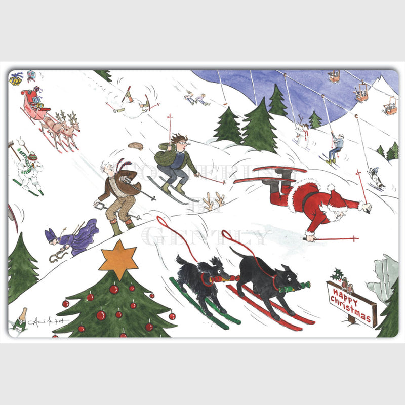 Tottering by Gently Christmas Card Pack of 5 The Totterings skiing