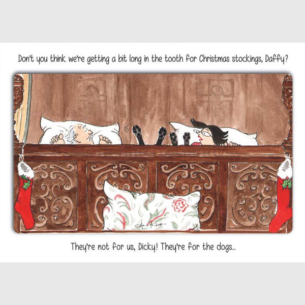 Tottering by Gently Christmas Card Pack of 5 Christmas Stockings for the dogs