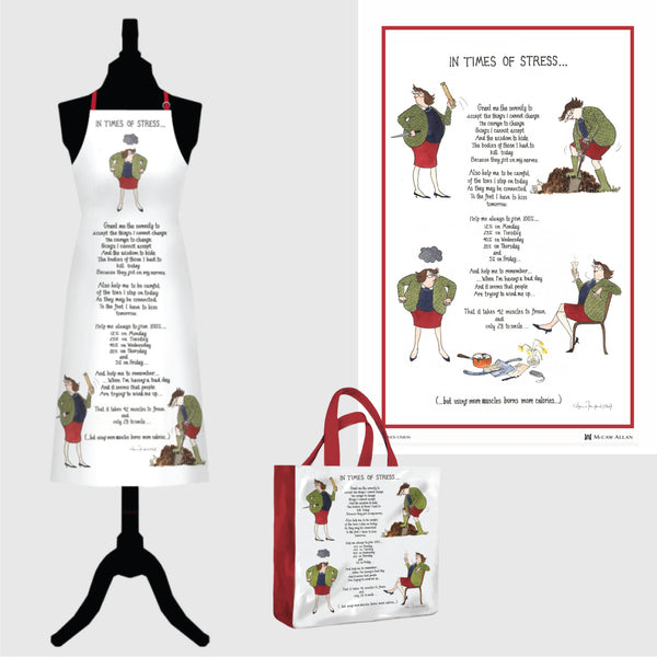 Tottering by Gently In Times of Stress linen tea towel, cotton apron and pvc shopping bag