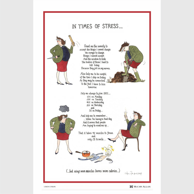 Tottering by Gently In Times of Stress linen tea towel