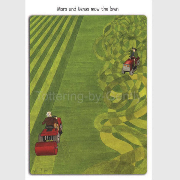 Mars and Venus mow the lawn - Greeting card