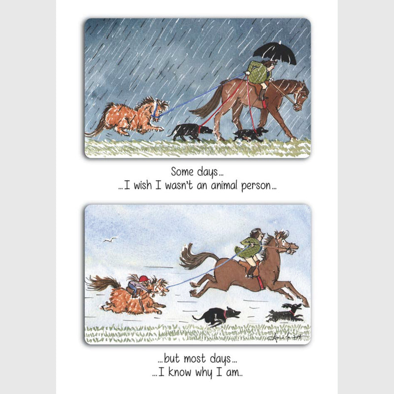 Animal person | Tottering by Gently Greeting Card