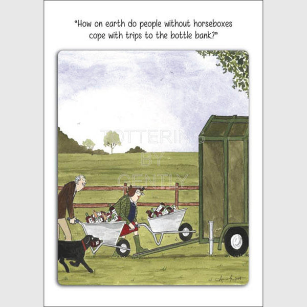 Trips to the bottle bank | Tottering by Gently Greeting Card