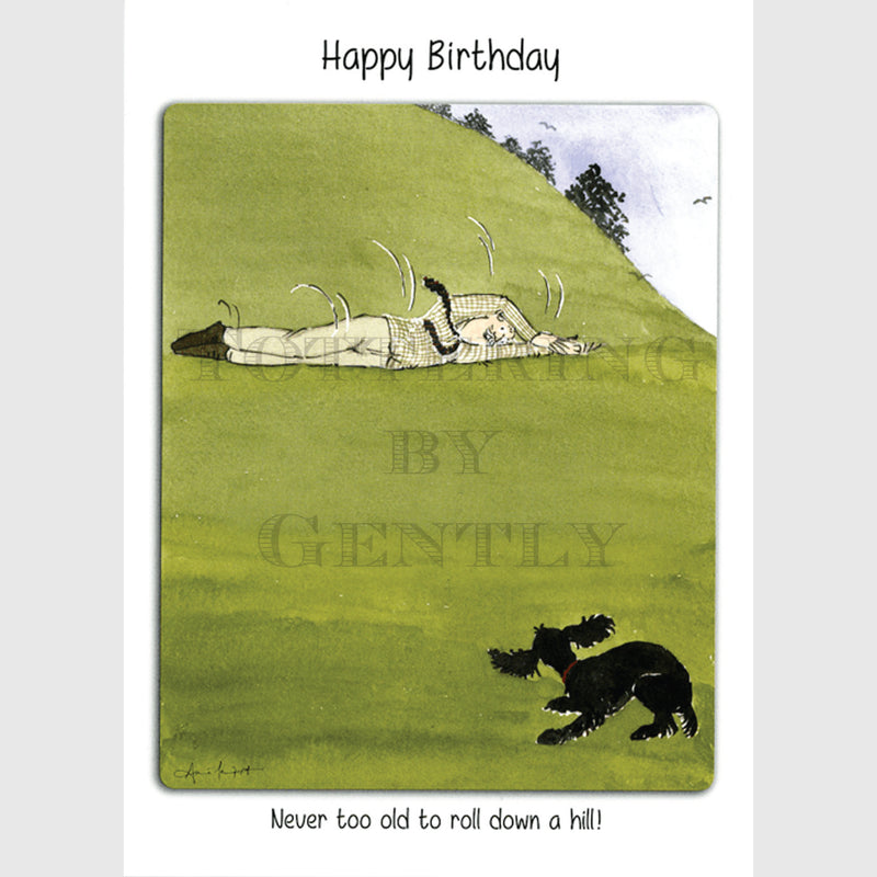 Never too old to roll down a hill - Happy Birthday greeting card