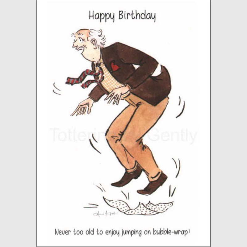 Jump on bubble-wrap, Dicky - Happy Birthday greeting card
