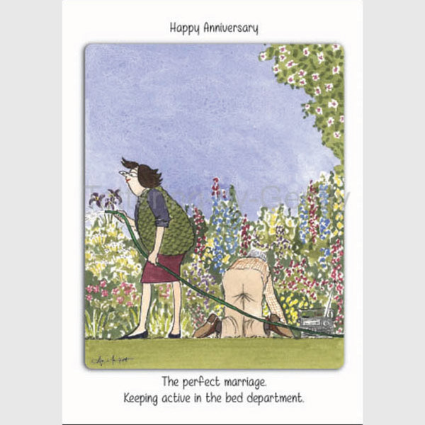 The perfect marriage keeping active in the bed department | Happy Anniversary Card