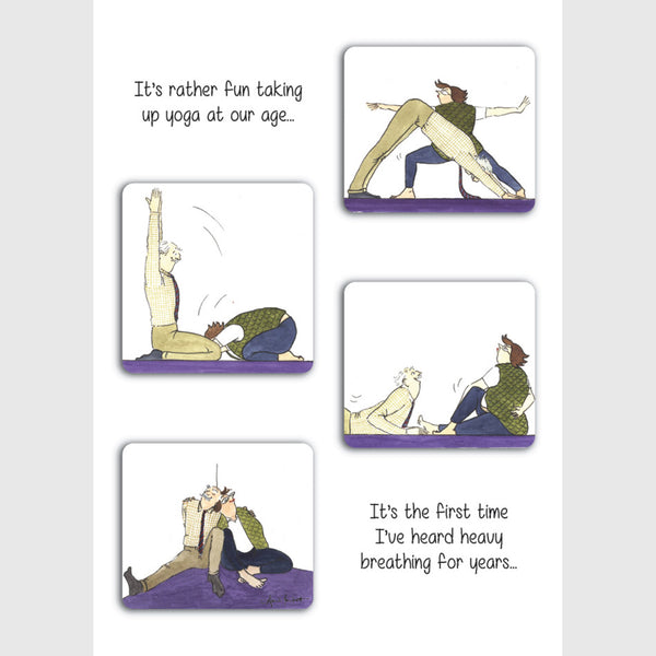 Tottering by Gently greeting card Taking up yoga at our age