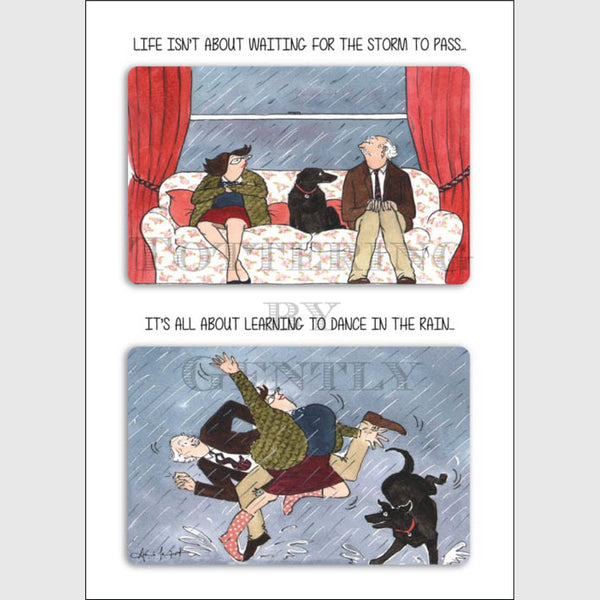 Dance in the rain - Greeting card