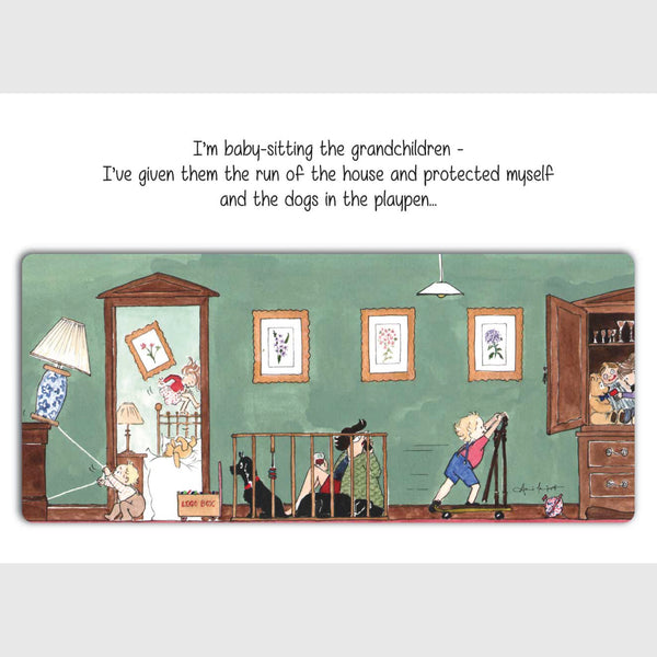 Myself and the dogs in the playpen - Greeting card