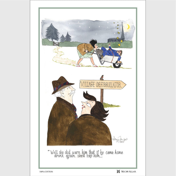 Tottering by Gently Village Defibrilator cotton tea towel