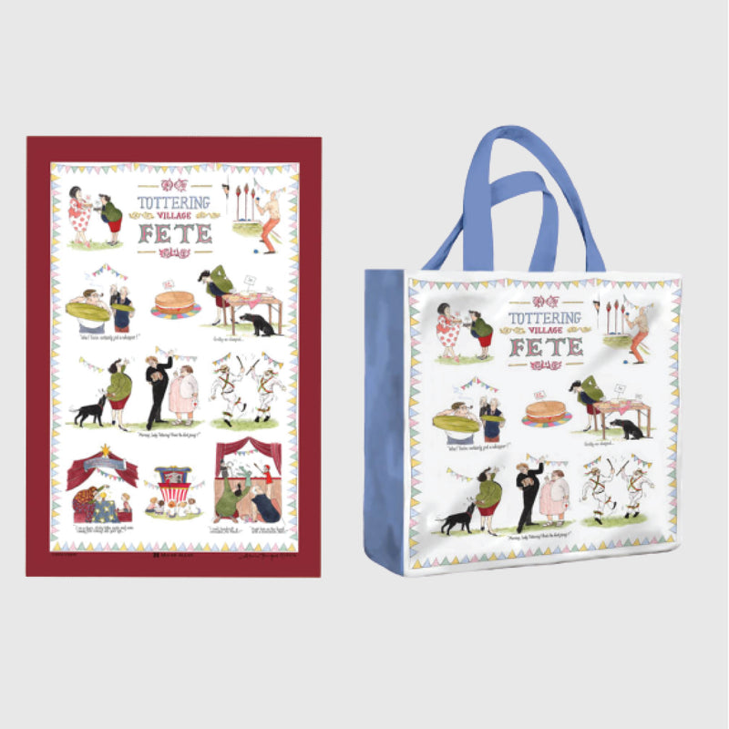 Tottering by Gently Village Fete shopper bag with tea towel