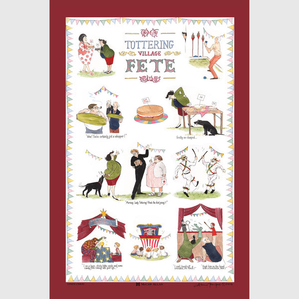 Tottering by Gently Village Fete cotton tea towel