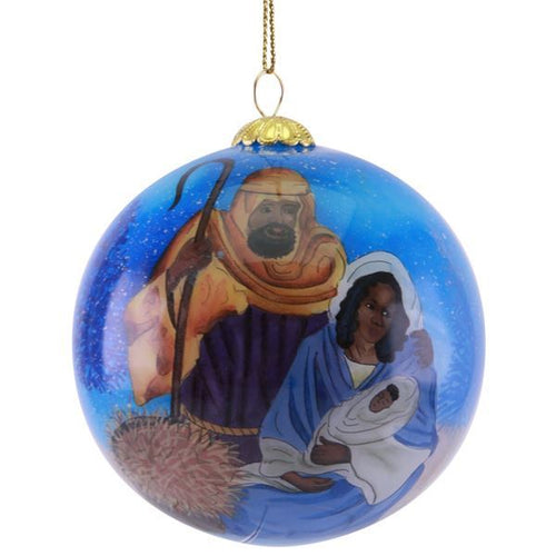 Hand Painted African American Nativity Glass Christmas Ornament
