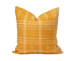 "Heddle & Lamm - Aditi - 20"" Yellow Indian Wool Pillow"