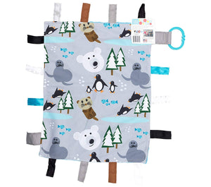 "Baby Jack and Company - Polar Bears Penguins Otters Taggy Learning Lovey 14"" x 18"