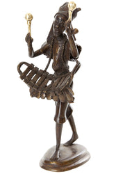 Swahili Modern - Burkina Bronze Griot Musician Sculpture
