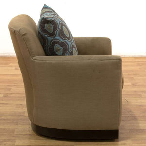 Swivel Chair with Dark Wood Base