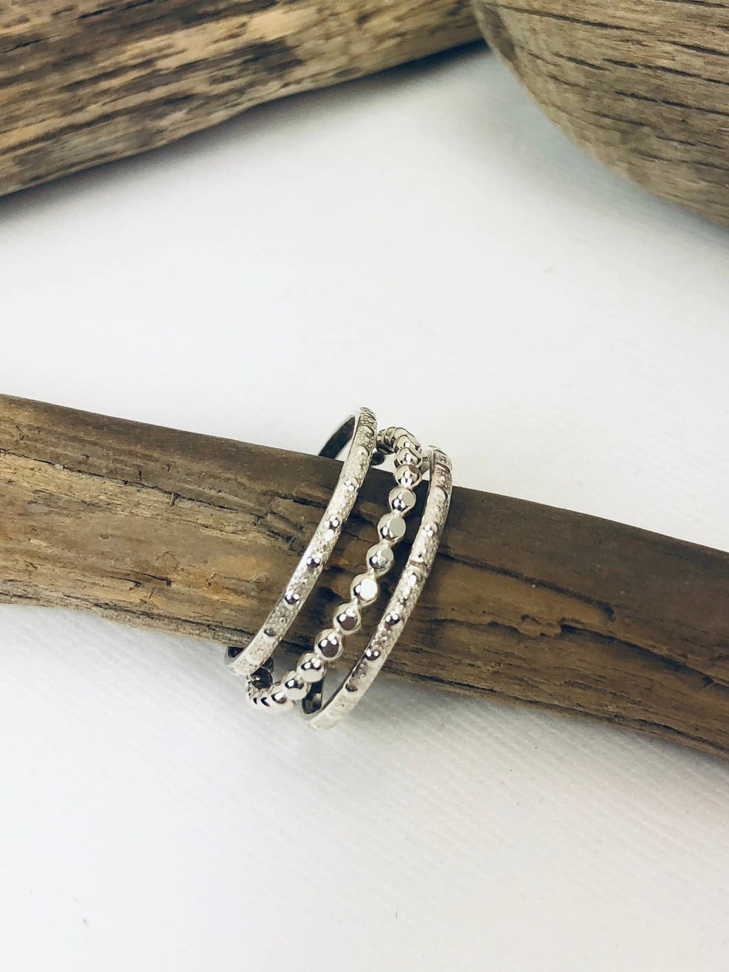 Laura J Designs - Textured Silver Stacking Rings