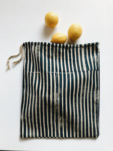 Indigo Stripe Drawstring Bag