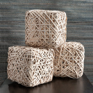 "Bamboo Cube Sculpture, 12""SQ"