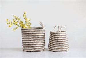 Cotton & Jute Braided Striped Baskets