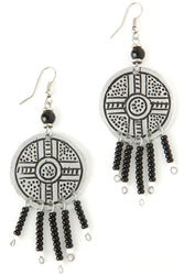 Swahili Modern - Kenyan Shield Earrings with Black Beads