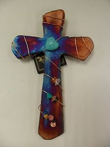 Cross with Copper Swirl & Crystal