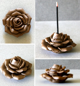 Clay Rose Incense Stand