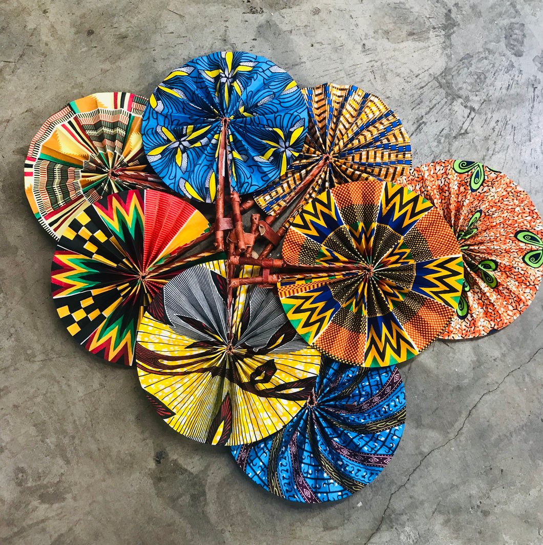 Swahili Modern: Assorted Ghanaian Kitenge Cloth & Leather Folding Fans