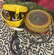 African Round Rattan Woven Shoulder Bag