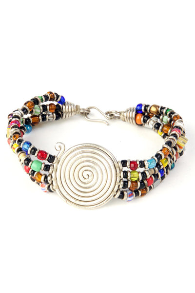 Kenyan Rainbow Beaded Bracelet with Silver Coil
