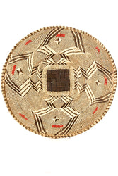 Traditional Tonga Winnowing Basket with Red Recycled Plastic
