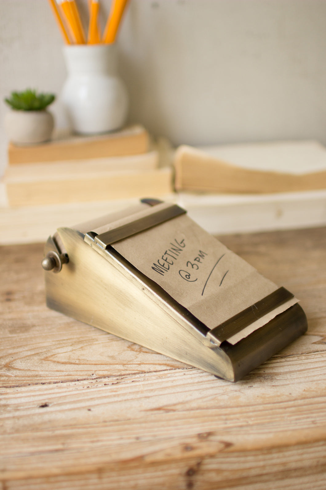 Desk Top Note Roll w/ Antique Brass Holder
